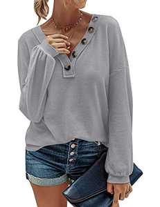 MEROKEETY Women Long Sleeve Waffle Knit Pullover Tops V Neck Button Shirts Blouses, Grey, XL