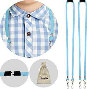 """2pcs Kids/Adults Breakaway Lanyard, Face Màsc Lanyards with Safety Breakaway Clasp - M Size Ear Saver Holder with Swivel J Clips for Child Size FaceMàscs - 18"""" Length (2pcs, Sky Blue)"""
