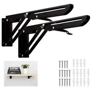 Huinsh Folding Shelf Brackets Heavy Duty Stainless Steel 16 Inch 2 Pcs Collapsible Wall Mounted Shelf Bracket for Bench Table Max Load: 150 lb (Black)