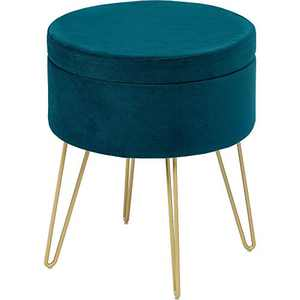YITAHOME Velvet Round Storage Ottoman Footrest Stool with Gold Metal Legs & Tray Top Coffee Table, Upholstered Vanity Chair Round Ottoman for Living Room Bedroom, Teal