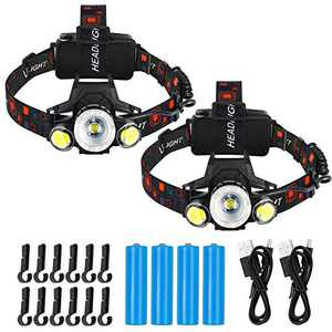 Rechargeable Headlamp, 2 Pack Super Bright Zoomable LED Headlamps, 4 Modes IPX4 Waterproof Head Lamp with Red Light for Camping, Hiking, Outdoors (Include Battery, USB Cable)