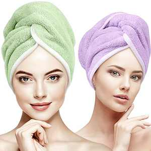 Hair Drying Towel for Long Hair, INNELO Large Microfiber Hair Towel Wrap for Curly Long Thick Hair, Super Water Absorbent Quick Dry Anti Frizz Hair Turban Towel for Women Girls 2 Pack