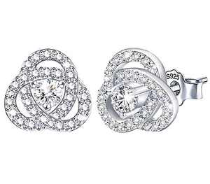 Cubic Zirconia Knot Stud Earrings - Sterling Silver Hypoallergenic Love Knot Earrings CZ Earrings for Women Girls