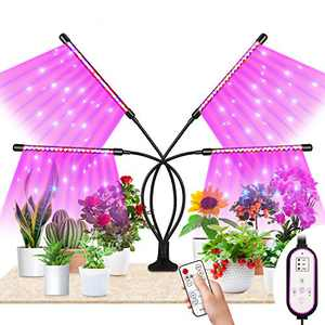 Fansteck Grow Light Plant Light, Full Spectrum Plant Grow Light with AUTO ON/Off Timer, 3 Lighting Modes, 60 LED Lamp, 5 Dimmable Level for Indoor Plants for Seed Staring to Harvest (4 Head) (4 Head)