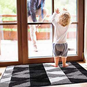"""Indoor Doormat Front Door Rug, Non Slip Rubber Backing, 20""""x32"""" Absorbent Machine Washable Inside Door Mat, Low-Profile Rug Doormats for Entry, Mud Room Mat, Back Door, Black"""