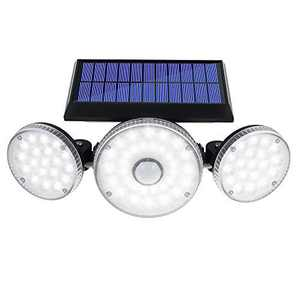 HYMELA Solar Lights Outdoor with Motion Sensor, 3 Adjustable Heads Flood Light Solar Powered Wireless 70 LED, Security Lights Waterproof for Garage Fence Yard Patio Outside Lighting, 1 Pack