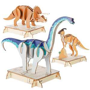NAVESTAR 3D Wooden Dinosaur Puzzle Set, DIY Painted Wood Craft Kit Dinosaur Jigsaw Puzzles Educational STEM Toys Gift for Kids(3 in 1)- Safe and Non-Toxic Easy Punch Out Premium Wood