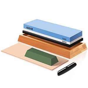 Whetstone Knife Sharpening Stone Dual Grit 1000/6000 Waterstone, Kitchen Knife Sharpener Leather Strop Kit with Polishing Compound, Non Slip Bamboo Base & Angle Guide for Sharpening & Honing Knives