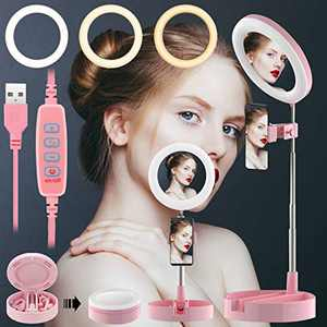 TOPPTIK Portable Selfie Ring Light with Stand and Phone Holder, LED Makeup Ring Light with Mirror, 3 Color Modes and 10 Brightness Ring Light for Live Stream/Photography/Video Recording (Pink F)