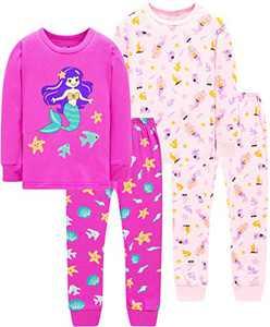 Girls Mermaid Pajamas Christmas Princess Pjs Toddler Kids Cotton Clothing Set Size 10