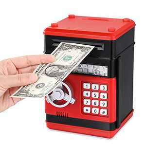 Fresh Friend Electronic Piggy Bank, Kids Money Bank, Auto Scroll Paper Money Saving Box, Safe Password Coin Bank with Lock, Great Gift for Girls & Boys (Red Black S)
