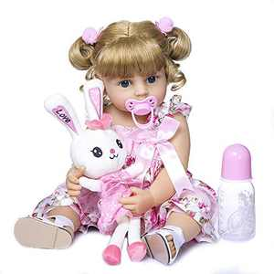 Anano Toddler Girl Doll Silicone Baby Dolls Blonde Blue Eyes Lifelike Newborn Baby Dolls Anatomically Correct Bathable Kids' Gift