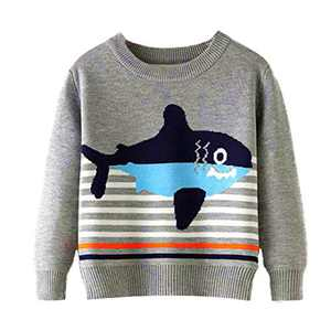 Toddler Boy Girl Sweater Knite Pullover Cute Cartoon Fish Grey Sweatshirts Tops