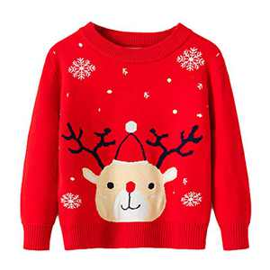 Toddler Boy Girl Christmas Sweater Knite Pullover Xmas Reindeer Elk Red Sweatshirts Tops