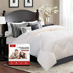 FGZ Queen Comforter, Bedding Comforter Queen Size Most Wished for All Season Comforter Down Alternative Duvet Quilted Comforter with Corner Tabs (White 88''x 88'')