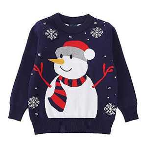 Toddler Boy Girl Christmas Sweater Knite Pullover Xmas Blue Snowman Sweatshirts Tops