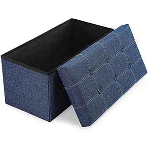 YITAHOME 30 Inches Folding Storage Ottoman Foldable Linen Fabric Ottoman Bench with Memory Foam Seat Tufted for Bedroom Livingroom and Hallway, 30'' x 15'' x 16'' (Blue)