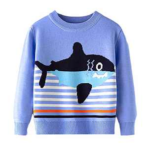 Toddler Boy Girl Sweater Knite Pullover Cute Cartoon Fish Blue Sweatshirts Tops