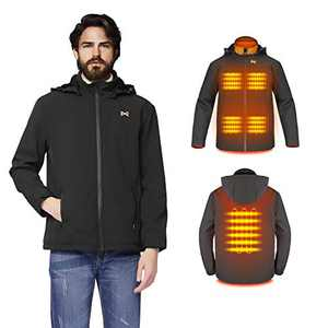 Heated Jacket for Man/Woman - Electric Heating Coat USB Charging with Detachable Hood Heating Clothes Washable for Outdoor Cold-Proof Quick-Heating for Hiking/ice Skating/Mountaineering Black