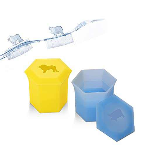 Silicone Ice Cube Trays with Cover Lion and Hippo Shape Reusable Ice Cube Molds Animals Design Ice Machine Novelty Mold for Whiskey Cocktails Juice Beverages