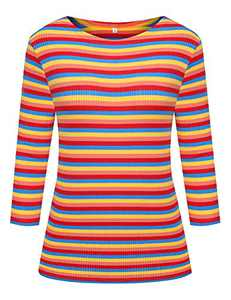 Women's 3/4 Sleeve Striped T-Shirt Tee Shirt Tops Slim Fit Blouses (Large, Multi Rainbow Stripe)