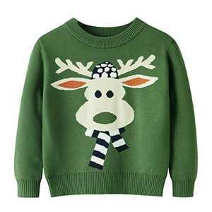 Toddler Boy Girl Christmas Sweater Knite Pullover Xmas Elk Raindeer Green Sweatshirts Tops