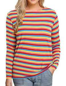 Women's Long Sleeve Striped T-Shirt Tee Shirt Tops Slim Fit Blouses (Small, Multi Rainbow Stripe)