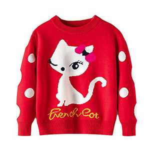 Toddler Girl Sweater Red Cat Winter Warm Long Sleeve Knite Pullover Cute Cartoon Sweatshirts Tops