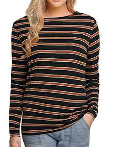 Women's Long Sleeve Striped T-Shirt Tee Shirt Tops Slim Fit Blouses (X-Large, Multi BlackBrown Stripe)