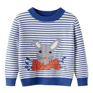 Toddler Boy Sweater Blue Stripe Rabbit Bunny Carrot Knite Pullover Cute Cartoon Sweatshirts Tops