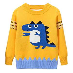 Toddler Boy Girl Sweater Knite Pullover Cute Cartoon Yellow Animal Crocodile Sweatshirts Tops