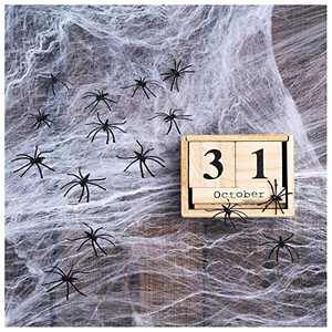 Fake Spider Web - 2400 Square Feet Stretchy Halloween Spider Web Cobweb Spider Web Decoration Halloween Party Decorations Props 50 Extra Spiders for Indoor and Outdoor