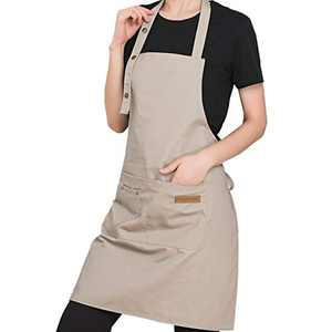 PASSDIGY Chef Kitchen Cooking BBQ Grill Apron With Pockets for Women Men, Waterproof Canvas plus size apron, cute personalized Works Baking artist server 3 Button Adjustable Apron M-XL (Beige)