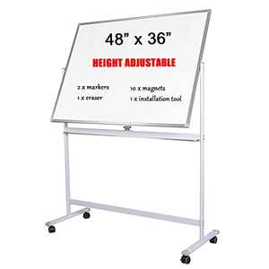 Large Dry Erase Board with Stand - WEICHA Magnetic Whiteboard, 48 X 36 Portable Easel Stand White Board for Office or Teaching at Home & Classroom