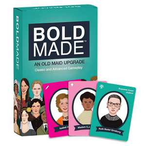 Bold Made Card Games for Kids & Adults - Unique Remake of Old Maid & Go Fish - Feminist Playing Cards, Co-Created by A 9 Year Old, Features 40 Hand-Drawn Portraits of Incredible Women in History