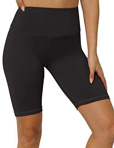 """8"""" High Waist Workout Biker Yoga Shorts Athletic Running Tummy Control Short Pants with No Side Pockets for Women Black-L"""