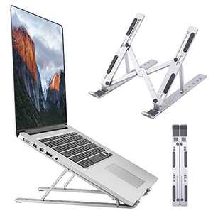 "Laptop Stand, Foldable Portable Laptop Holder Tablet Stand, 6 Angles Adjustable Aluminum Ergonomic Desktop Riser Compatible with MacBook,iPad, HP, Dell, Lenovo 10-15.6"", Silver"