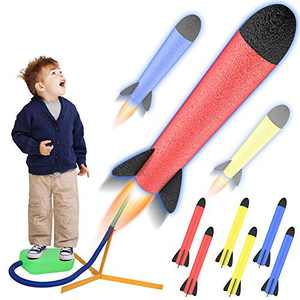 RegeMoudal Toy Launcher Rocket, Rocket Launcher Shoots Up to 100 Feet- Stomp Rocket Includes 6 Rockets-The Best Educational Toy Gift for Kids
