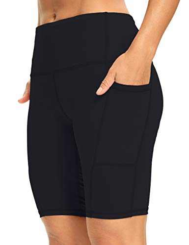 """8"""" High Waist Workout Biker Yoga Shorts Athletic Running Tummy Control Short Pants with 3 Pockets for Women Black-S"""