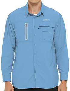 DEMOZU Men's UPF 50+ Long Sleeve Fishing Shirt Sun Protection Quick Dry Hiking Outdoor Shirt with Roll-up Sleeves, Light Blue, S