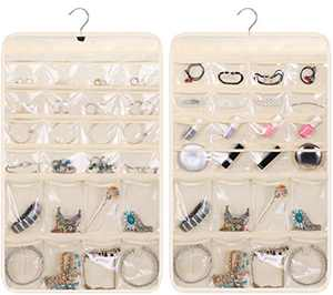 KIMBORA Sunglass Holder Hanging Jewelry Organizer with 16 Large Sunglasses Pockets 32 Middle Pockets for Earring Necklace Bracelet Closet, Beige