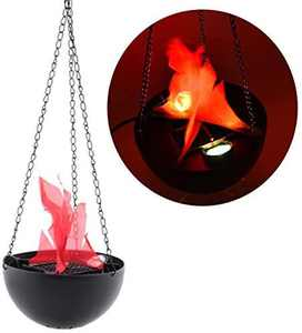 Halloween 3W Prop LED Fake Fire Flame Effect Lamp Torch Night Light Artificial 3D Campfire Lamp for Christmas Festival Event Party Club Decor (20CM-round hanging led flame light)