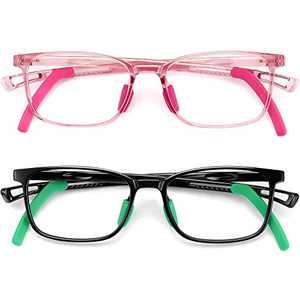 Kids Blue Light Blocking Glasses for Boys Girls Computer Gaming Glasses Unbreakable TR Glasses Frame Blocker Blue Ray Anti Eyestrain Children Age 4 to 10 (Black+Pink)