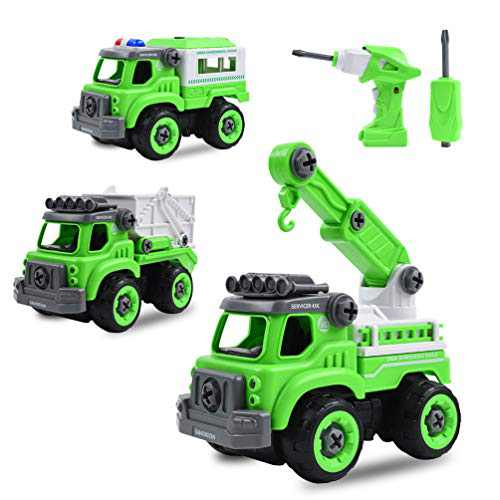 AOPOY 3 in 1 Construction Truck Toys, Kids Stem Building Toy Take Apart Toys with Electric Drill Converts to Remote Control Car, Take Apart Toy for Boys, Gift Toys for 3,4,5,6 Year Boys