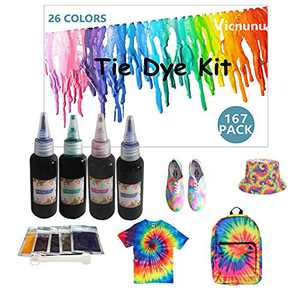 Tie Dye Kit Fabric Dye for Kids and Adults, 26 Colors Tie Dye Powder 167 Packs with Aprons, Gloves, Rubber Bands Plastic Table Covers Dye for Clothes for Large Groups