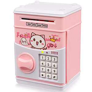 TOPBRY Piggy Bank for Kids,Electronic Password Piggy Bank Kids Safe Bank Mini ATM Piggy Bank Great Gift Toy for 3-14 Year Old Boys and Girls (Pink)