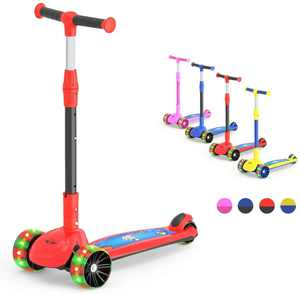 M MEGAWHEELS Kick Scooter 2 in 1 Scooter for Kids 3 Wheel, with Adjustable Height, LED Light Up Wheels for Children