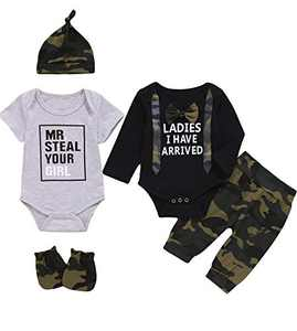 Dramiposs Baby Boy Mr.Steal Your Girl Outfit Newborn Camouflage Pant Clothing Set with Gloves and Hat (Black02,12-18 Months)