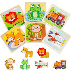 Wooden Puzzles for Toddlers, Transifun Animal/Vehicles Jigsaw Puzzles with Level Up, Learning Preschool Educational Toys Gift for 2 3 4 5 Years Old Toddlers, Extra Drawstring Bag for Easy Storage