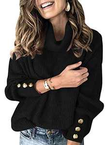 Boncasa Women Ritual Turtleneck Solid Color Knit Sweater Casual Loose Button Long Sleeve Chunky Pullover Outerwear Black 2BC78-heise-L